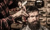 Man Hairstylist. Beard Man In Barbershop. Hairstylist Serving Client At Barber Shop, Bearded. Barber poster