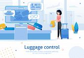 Airline Company, Airport Luggage Control Service Trendy Flat Vector Advertising Banner, Promo Poster poster