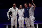 KIEV, UKRAINE - APRIL 14, 2012: USA team celebrate the victory in World Fencing Championship on April 14, 2012 in Kiev, Ukraine