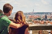 Young Travelers Couple In Love Walking On A Street Of European City. Sightseeing Traveler poster