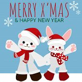 Christmas Holiday Season Background Of Cute Bear And Rabbit In Red Scarf With Merry Christmas Text.  poster