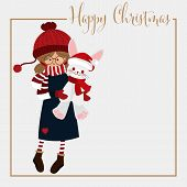 Christmas Holiday Season Background With Cute Girl In Winter Custom Holding Cute Rabbit Doll And Hap poster