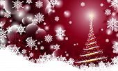 Christmas Background With Blurry Smooth Glowing Waves Abstract Christmas Tree And Snow Flack On Red  poster