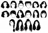 Set Of Hairstyles For Women. Collection Of Black Silhouettes Of Hairstyles For Girls. Fashionable Ha poster