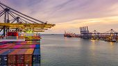 Container Ship Loading And Unloading In Deep Sea Port At Sunset, Aerial View Of Business Logistic Im poster