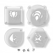 Animal icon set. Deer, bird, bee, fish.  Glass buttons. raster illustration.