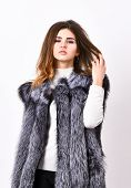 Luxury Fur Accessory Clothes. Fashion Trend Concept. Winter Fashionable Wardrobe For Female. Boutiqu poster