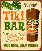 Vintage metal sign - Tki Bar - Raster Version.