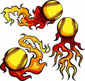 stock photo of fastpitch  - Flaming Graphic Softball Sport Vector Image with Flames - JPG