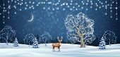 Christmas Winter Background. Vector Holidays Landscape With A Deer. Winter Night Landscape poster