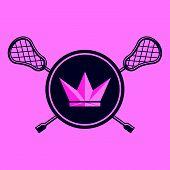 Royal Lacrosse Woman Team Emblem Logo Vector poster