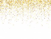 Sparkling Golden Glitter On White Vector Background. Falling Shiny Confetti With Gold Shards. Shinin poster