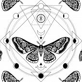 Night Moth. Sacred Geometry, Esoteric Symbols. Black And White Vector Illustration. Seamless Pattern poster