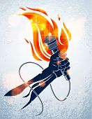 Microphone In Hand On Fire, Hot Mic In Flames Live Show, Rap Battle Rhymes Music, Concert Festival O poster