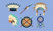 Native American Indian Symbols Set, Ethnic Design Elements, Dreamcatcher, Headdress, Spear Vector Il poster