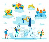 Finding Key To Personal Happiness Flat Vector Concept With People Climbing On Ladder To Cloud, Putti poster