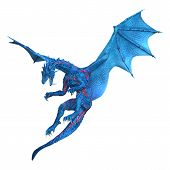 3D Rendering Fairy Tale Dragon On White poster