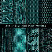Set Of Seamless Cyber Patterns. Circuit Board Texture. Digital High Tech Style Vector Backgrounds. poster