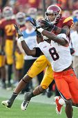 LOS ANGELES - SEP 17: USC Trojans WR Robert Woods #2 & Syracuse Orange CB Keon Lyn #8 during NCAA Fo