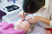 Woman On The Procedure For Eyelash Extensions, Eyelashes Lamination poster