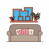 Livingroom House With Sofa And Love Pillows Vector Illustration Design poster