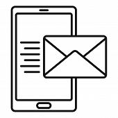 Smartphone Mail Inbox Icon. Outline Smartphone Mail Inbox Vector Icon For Web Design Isolated On Whi poster