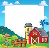 stock photo of hayfield  - Farm theme frame 1  - JPG