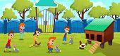 Petting Zoo, Farm With Cute Domesticated Animals Cartoon Vector Concept. Little Kids, Preschooler Bo poster