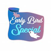 Early Bird Discounts And Sales Banner Isolated On White Background. Early Bird Promotions. Vector Il poster
