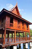 Thai style, Teakwood home in garden