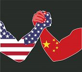 Sept, 2019 - China And Usa Economic Trade War Concept. China Dispute With The United States About Th poster