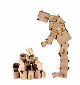 Box man looking at box pile