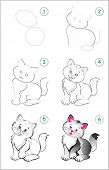 How To Draw Step By Step A Cute Little Kitten. Educational Page For Kids. Back To School. Developing poster