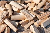 Chopped Firewood. Firewood Is On The Ground. Solid Fuel. Preparation Of Firewood For The Winter. Saw poster