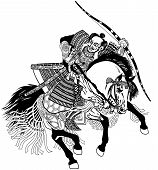 Asian Warrior Archer. Japanese Samurai Horseman Sitting On Horseback, Wearing Medieval Leather Armor poster