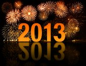 stock photo of happy new year 2013  - 2013 new year celebration with fireworks - JPG