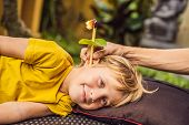 The Boy Gets A Procedure With An Ear Candle, Childrens Ears Health, Good Hearing, Earwax poster