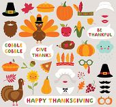 Thanksgiving Icons Vector Set - Turkeys, Pumpkins And Other poster