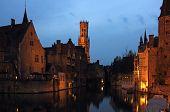 Bruges Rozenhoedkaai Night Scene