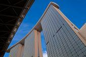 MARINA BAY, SINGAPORE - 28 MARCH 2012 : The Marina Bay Sands Hotel dominates the sky