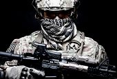 Armed Marine Rider Portrait With Hidden Face poster