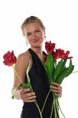 Woman In Dress With Tulips Flowers Isolated On White Background