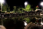 Garden Pond At Night. Illuminated Pond Shore In A Night. Garden Fish Pond. Garden Pond On Natural La poster