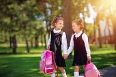 Portrait Of Happy Caucasian Young Smiling Girls Wearing School Backpack Outside The Primary School.  poster