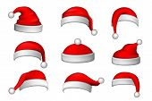 Santa Claus Hat 3d Set. Realistic Santa Claus Hat Isolated On White Background. Red Funny Cap Silhou poster
