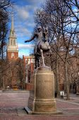 stock photo of paul revere  - Paul Revere Statue at Paul Revere Mall in Boston - JPG