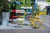 Colorful French bistro terrace