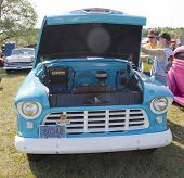 1955 Chevy Aqua Blue Truck Front View
