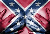 stock photo of confederate flag  - Sweaty upper part of female body hands covering breasts confederate flag - JPG