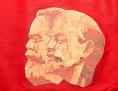 Marx e Lenin no Banner vermelho